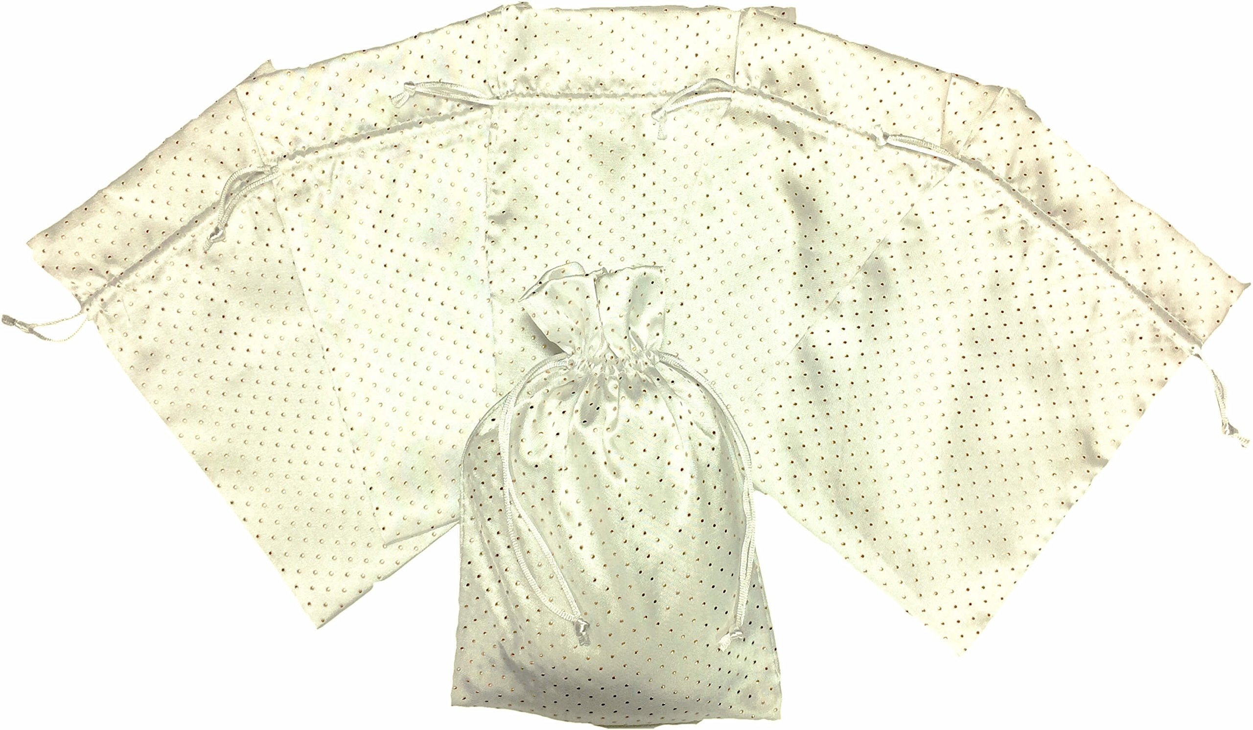 White Satin Pearl Gift Bag with Gold Encrusted Dots by Bruno Life - 6 Count 6 x 9 inch Drawstring Tie for Wedding Favors, Money Dance, Bridesmaid Gifts, Shower, Anniversary, Organizer, Includes eBook