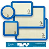 Silicone Baking Mat Set of 5-2 Half Sheets + 1 Quarter + 1 Round & 1 Square Silicone Mats for Baking Mat - Nonstick Silicone