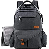HapTim Multi-Function Large Baby Diaper Bag Backpack W/Stroller Straps-Insulated Bottle Pockets-Changing Pad,Stylish & Durable(Dark Gray-5284)