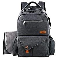 HapTim Large Baby Nappy Changing Bag Backpack W/Stroller Pushchair Straps/Insulated Pockets/Changing Mat,18 Pockets Excellent Diaper Bag Backpack for Mom & Dad(Dark Grey,uk5284DG)