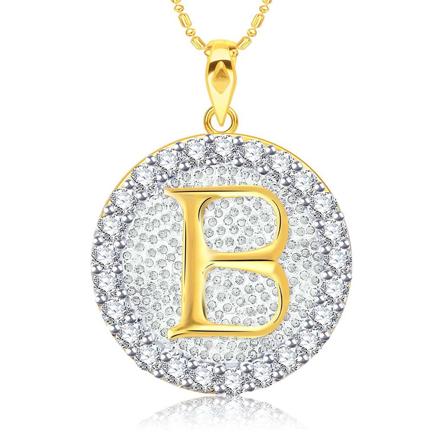 Suhana Jewellery Simulated Diamond Studded Fashion Love Promise Heart Pendant Necklace in 14K White Gold Plated With Box Chain