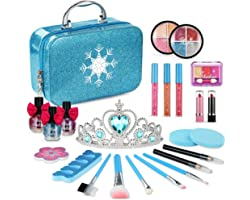PERRYHOME Makeup Kit for Girls, Washable Real Makeup Set Frozen Toys for Girls, Frozen Makeup Kit for Kids Blue