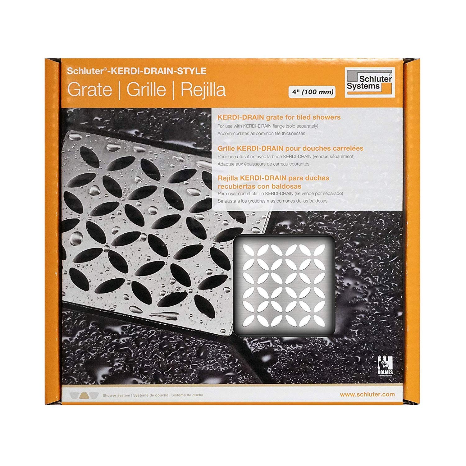 Schluter 4-Inch Floral-style Stainless Steel Drain Grate