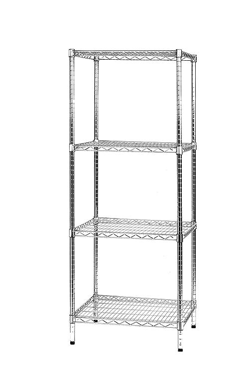 Sistema Componibile Scaffali.Archimede Sistema Componibile Scaffale Quattro Ripiani Grigio Cromato 61 X 61 X 160 Cm