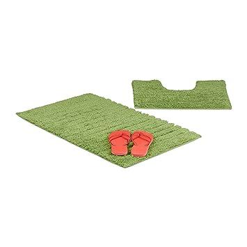 Relaxdays Lot de 2 tapis de bain design rayé tapis de douche ...