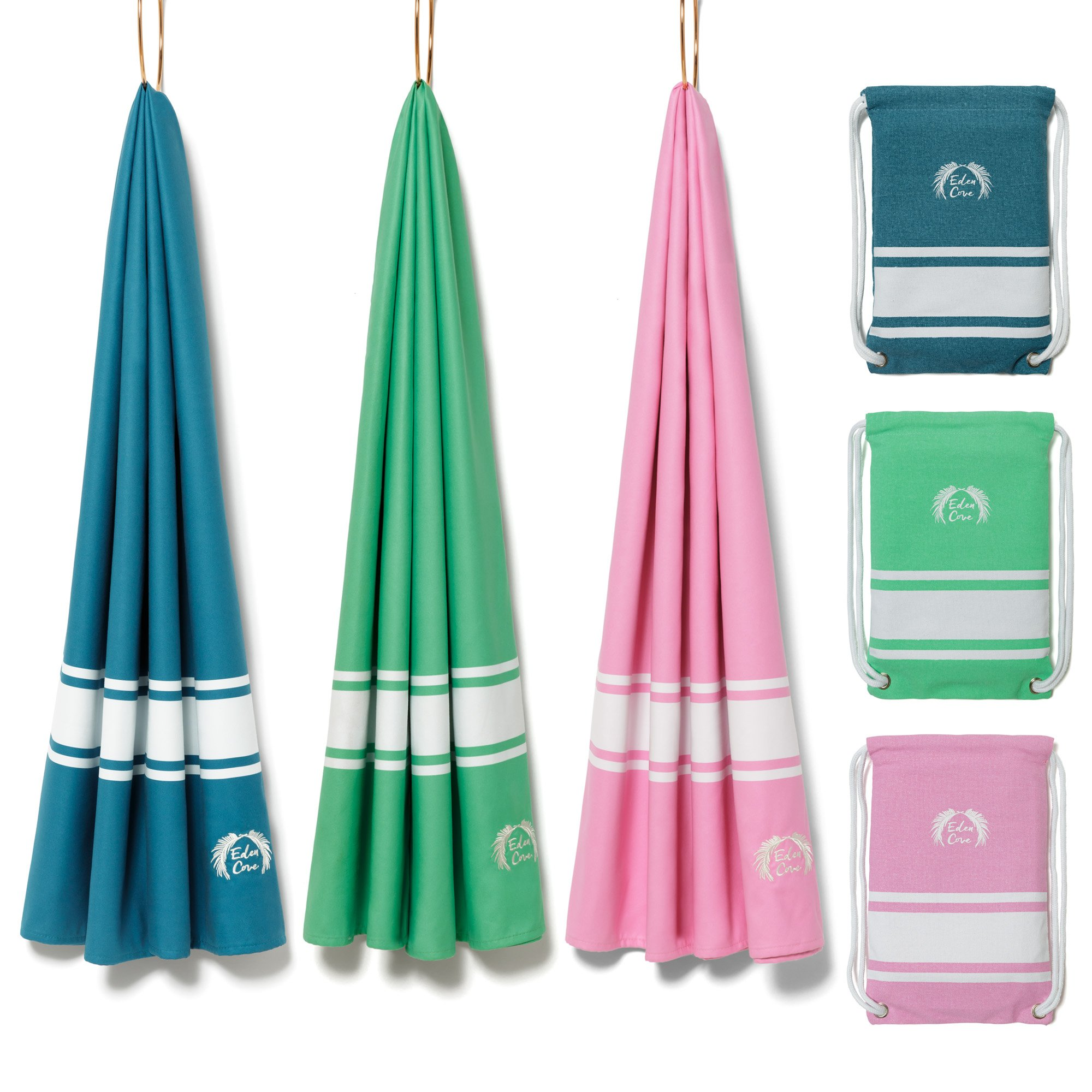 Eden Cove Microfiber Beach Towel, Quick Dry Travel Towel & Canvas Bag - Extra Large 71x39'' in Mint Green - Fast Drying, Compact, Lightweight, Absorbent - for Beach, Travel, Swimming, Gym, Sports.
