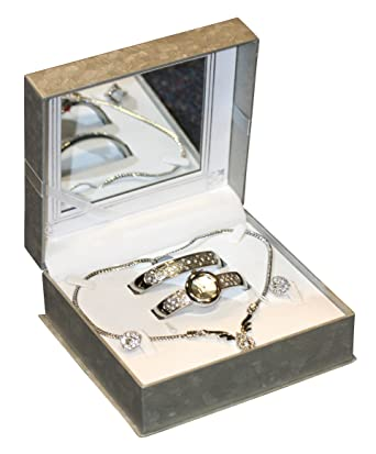 f8c1e3f16 Philip Mercier Ladies Pink Silver Colour set with watch, bangle, earrings  and necklace: Amazon.co.uk: Watches