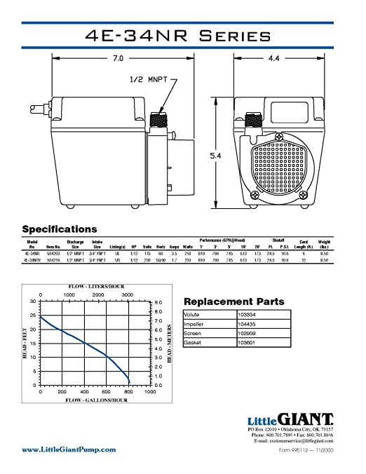 little giant 4e 34nr 1 12 hp 810 gph small submersible pump 6 little giant 4e 34nr 1 12 hp 810 gph small submersible pump 6 power cord 504203 sump pumps amazon