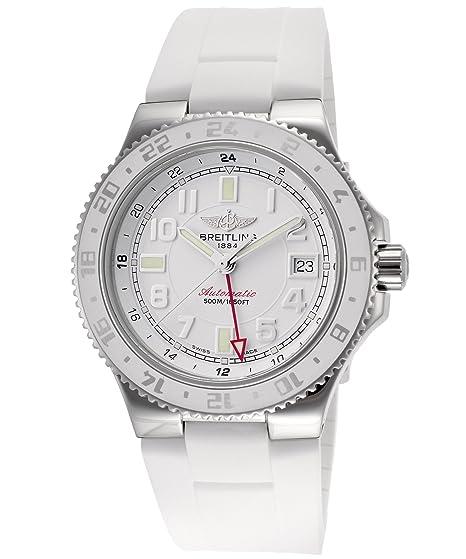 Breitling - Reloj de pulsera hombre, caucho, color blanco: Amazon.es: Relojes