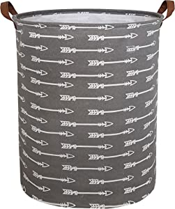 CLOCOR Collapsible Round Storage Bin/Large Storage Basket/Clothes Laundry Hamper/Toy Storage Bin (Grey Arrows)