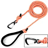 Mighty Paw Rope Dog Leash, Premium Climbers Rope, 6 Foot Long with Reflective Stitching, Climbers Carabiner Clip