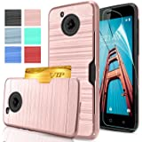 Moto E4 Case [Fit US variant (XT1768)] With HD Screen Protector,AnoKe[Card Slots Holder]TPU Soft Hybrid Shockproof Heavy Duty Protective Wallet Case for Motorola Moto E (4th Generation) KC2 Rose Gold