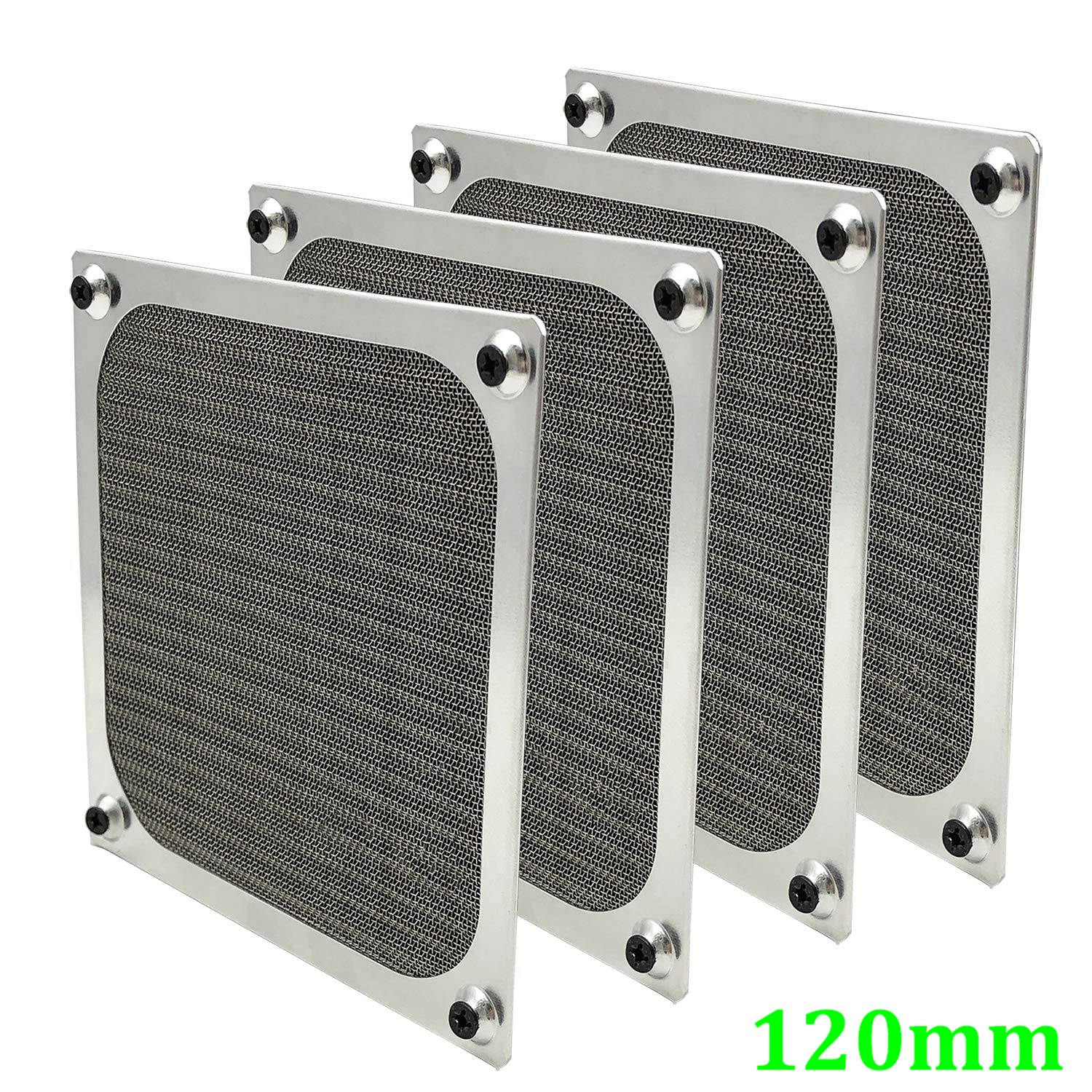 120mm Computer Fan Filter Grills with Screws, Ultra Fine Aluminum Mesh, Silver Color - 4 Pack