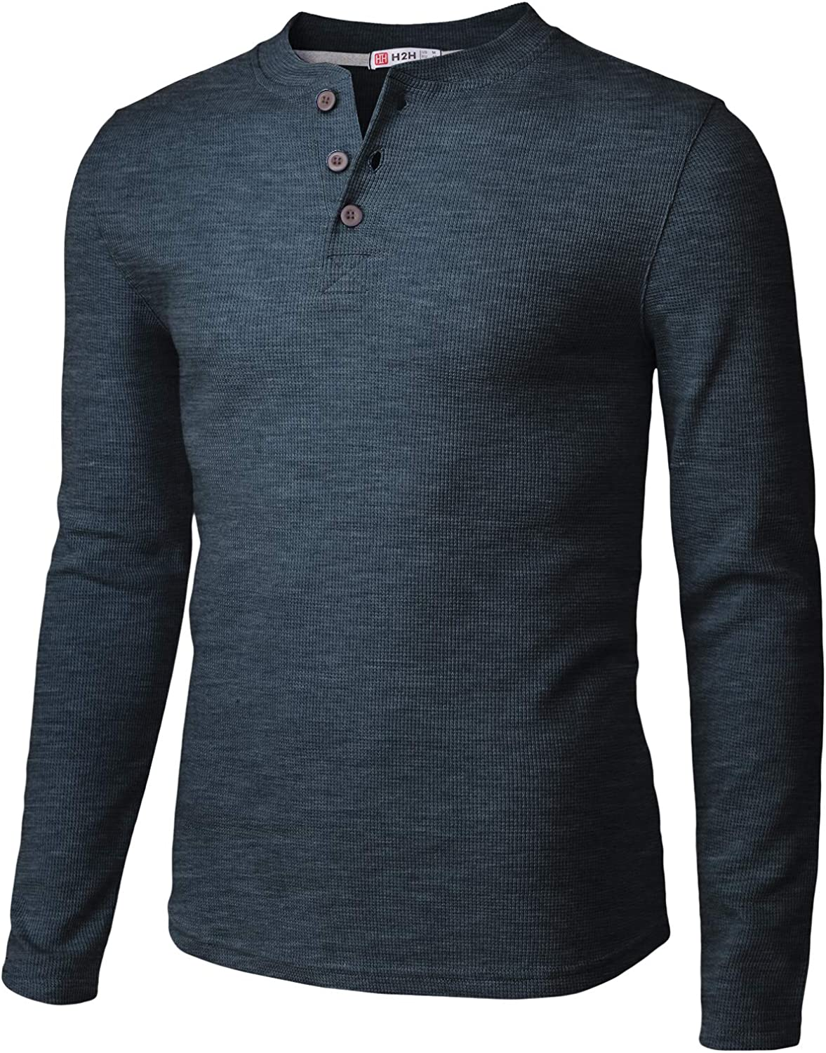 H2H Mens Casual Slim Fit Henley Long Sleeve T Shirts of Waffle Cotton