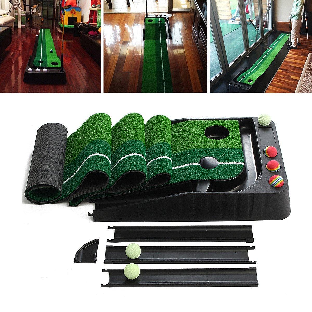 Wincom Dishman Aセット 2.5m ゴルフ パッティング 練習用マット ボール6個付き リターン屋内 屋外   B07HP17X78