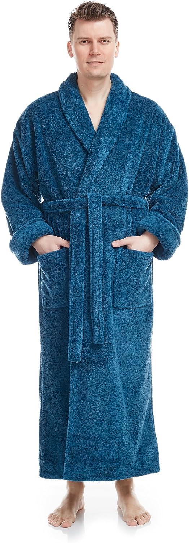 Arus Men's Shawl Collar Full Length Tall Long Fleece Robe, Turkish Bathrobe