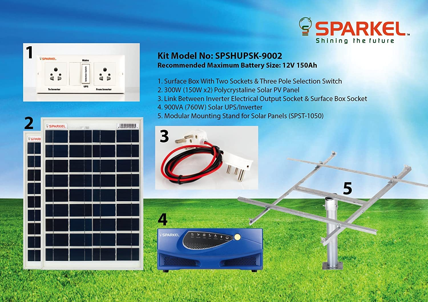 Sparkel Solar Home Ups Inverter Kit 900va 760w With 300w Panels Wiring Diagram Without Battery Spshupsk 9003 Garden Outdoors