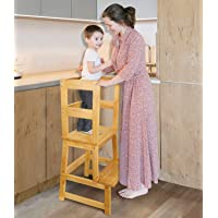 Kids Kitchen Step Stool, Toddler Learning Stool with Safety Rail - Lightweight Solid Hardwood Construction - Perfect for…