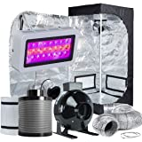 "TopoLite Grow Tent Room Complete Kit Hydroponic Growing System LED 300W/ 600W/ 800W/1200W Grow Light + 4""/ 6"" Carbon Filter Combo + Multiple Size Dark Room (LED300W+24""X24""X48""+4"" Filter Combo)"