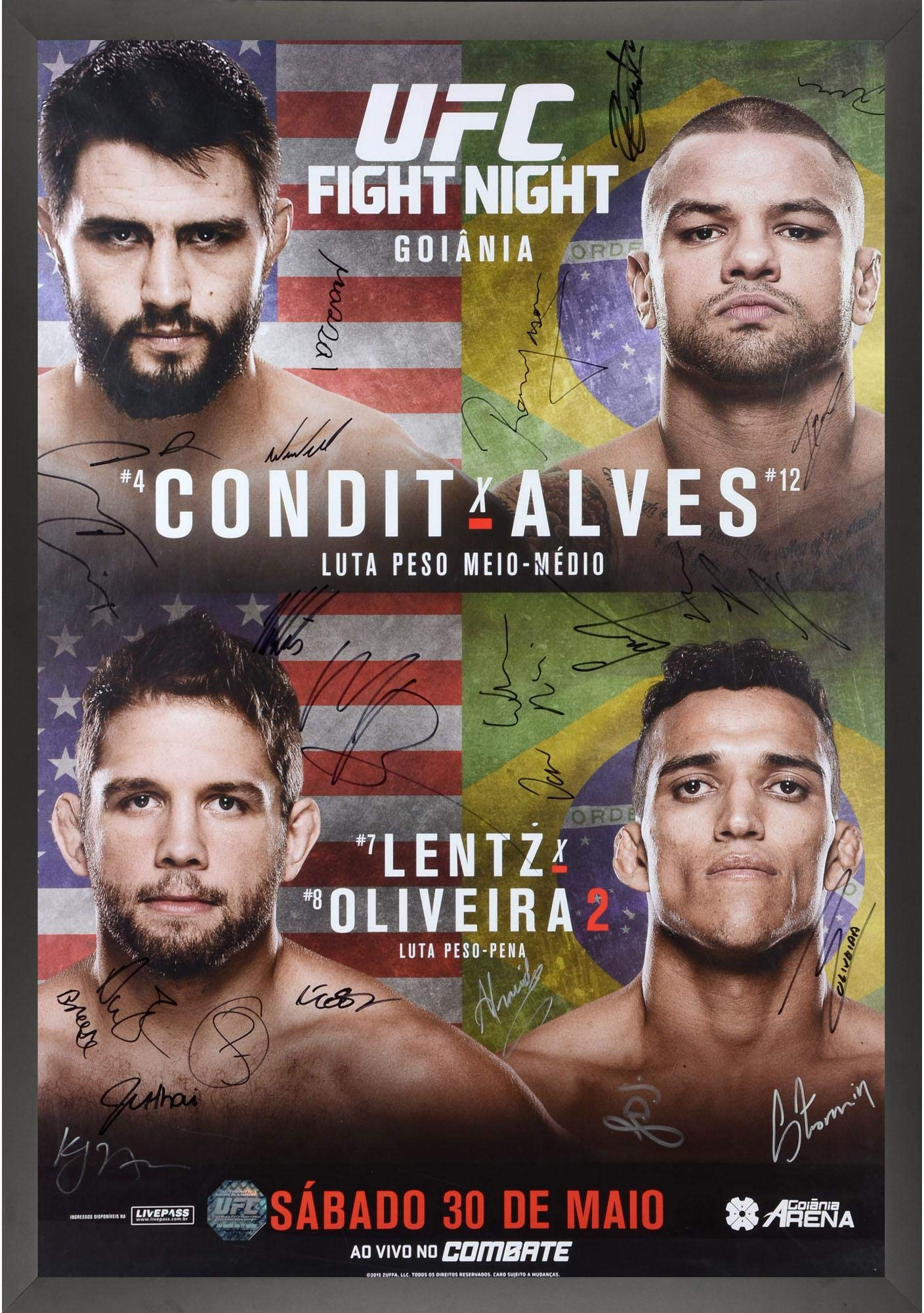 "UFC Fight Night 67 Condit vs. Alves Framed Autographed 27"" x 39"" 24 Signature Fight Poster Fanatics Authentic Certified"