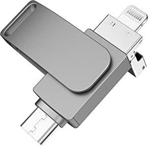 256GB Photo Stick for iPhone Flash Drive Memory Stick USB 3.0 Thumb Drive for iPhone Flash Drive for IPad/iPhone/Android/Computer Gray