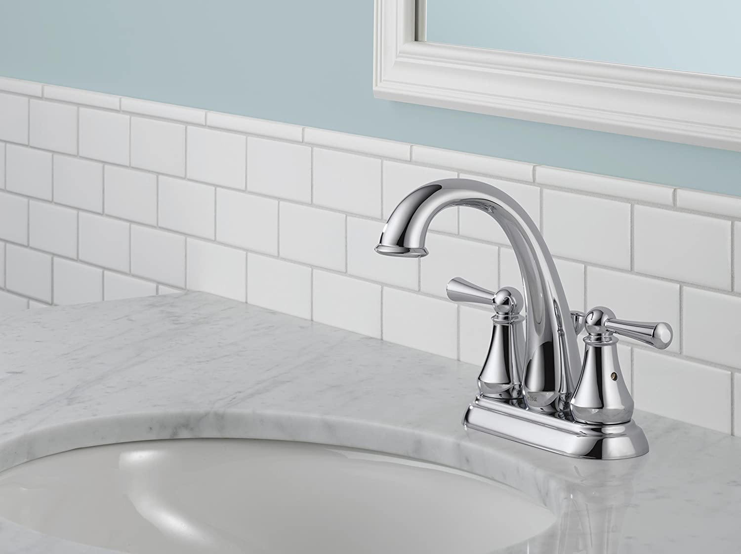 Delta 25901LF SS Lewiston Two Handle Centerset Bathroom Faucet, Stainless    Touch On Bathroom Sink Faucets   Amazon.com