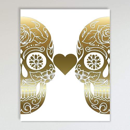 Sugar Skull Print Gold Foil Skull design Poster Australian made art homeware