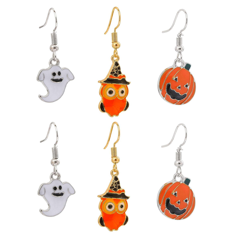 9e3cc39c2 Amazon.com: youmi Halloween Drop Earrings Set Devil Ghost Witch Pumpkin  Lantern Dangle Earrings Jewelry Women 3 Pairs: Jewelry