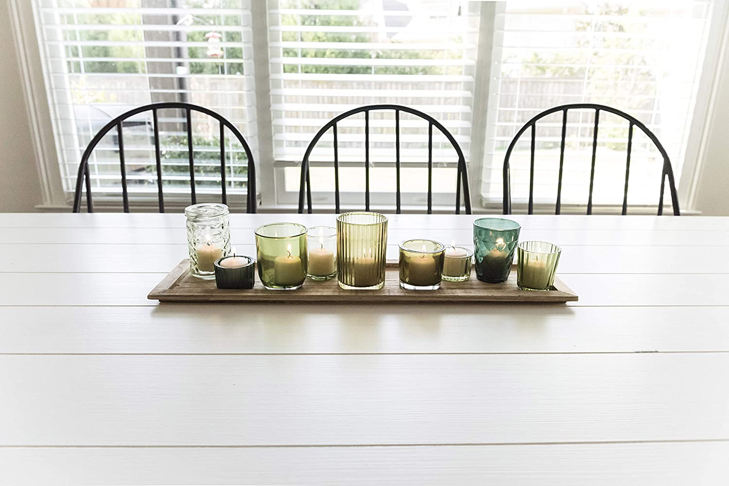 Earthy Greens Creative Co-op Wood Tray with 9 Unique Glass Votive Canlde Holders