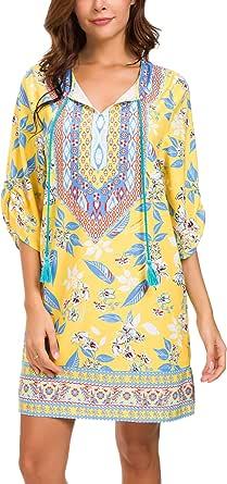 Urban CoCo Women Bohemian Neck Tie Vintage Printed Ethnic Style Summer Shift Dress