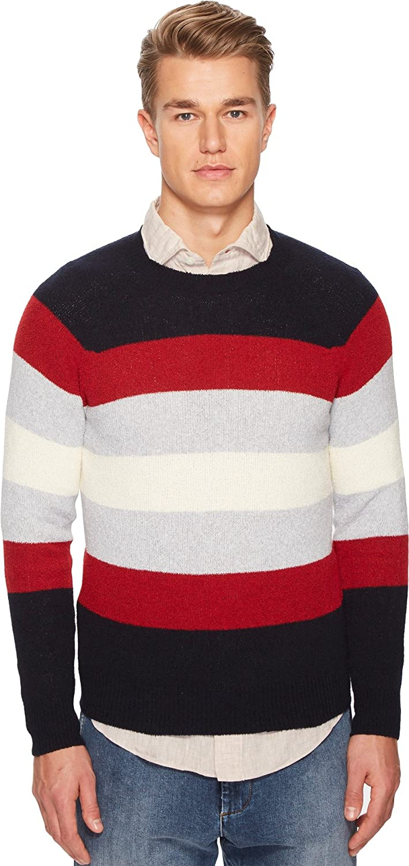 Navy Red Cream Eleventy Mens Spunia Wide Stripes Sweater