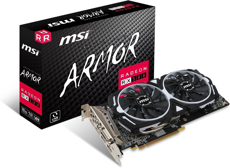MSI - Graphics card MSI VGA AMD RX 580 ARMOR OC 8 GB DDR5
