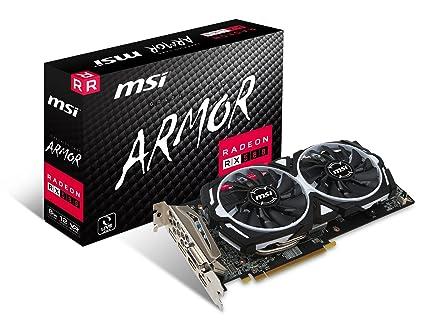 MSI Radeon RX 580 Armor 8G OC, Tarjeta Gráfica (Refrigeración Armor 2X, Memoria GDDR5), HDMI, GeForce 9800 GTX+, 8GB, Negro