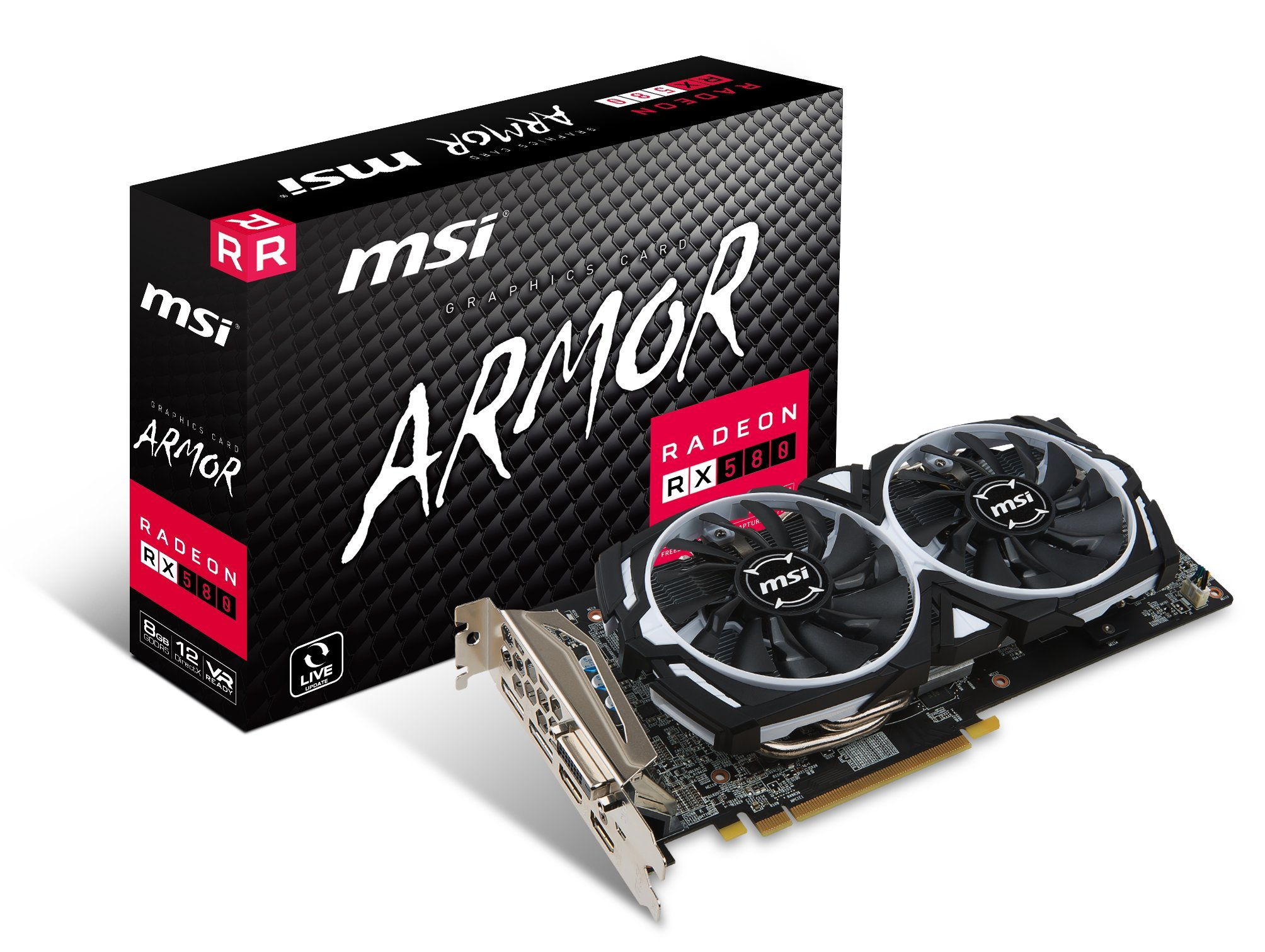 MSI RADEON RX 580 ARMOR 8G OC Graphics Card '8GB GDDR5, 1366Hz, AMD Polaris 20 XTX GPU, 2x DisplayPort, 2x HDMI, DVI-D, Dual Fan Cooling System'