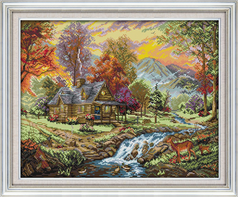 Joy Sunday Stamped Cross Stitch Kits - Counted Cross Stitch Kit, Cross-Stitching Patterns Holiday Villa 11CT Pre-Printed Fabric - DIY Art Crafts & Sewing Needlepoints Kit for Home Decor 24''x19'' Chuang Jia