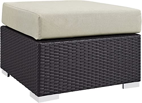 Modway Convene Wicker Rattan Outdoor Patio Square Ottoman in Espresso Beige