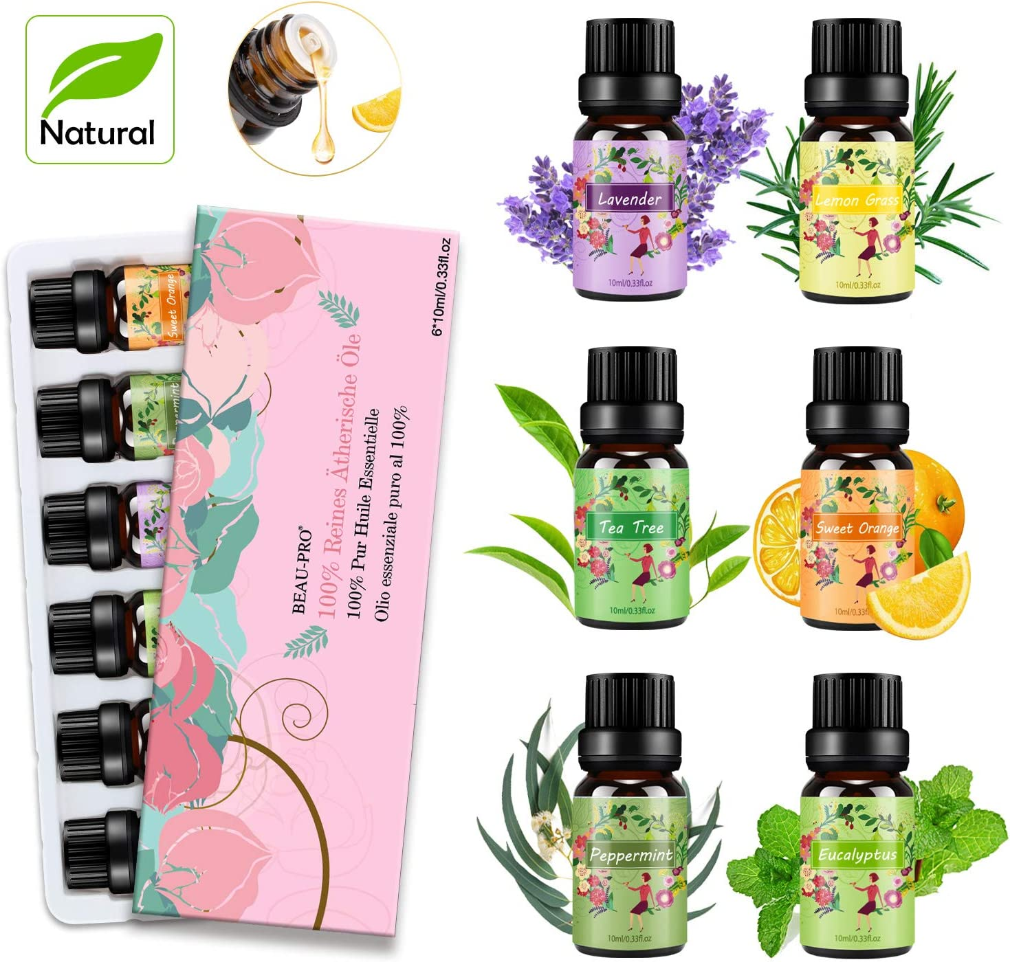Essential Oils Set, 6 x 10ml Aromatherapy 100% Pure Aroma Fragrance Oils , Spa Diffuser Oils (Tea Tree Oil, Lavender Oil, Peppermint Oil, Eucalyptus Oil, Lemongrass Oil, Sweet Orange Oil)