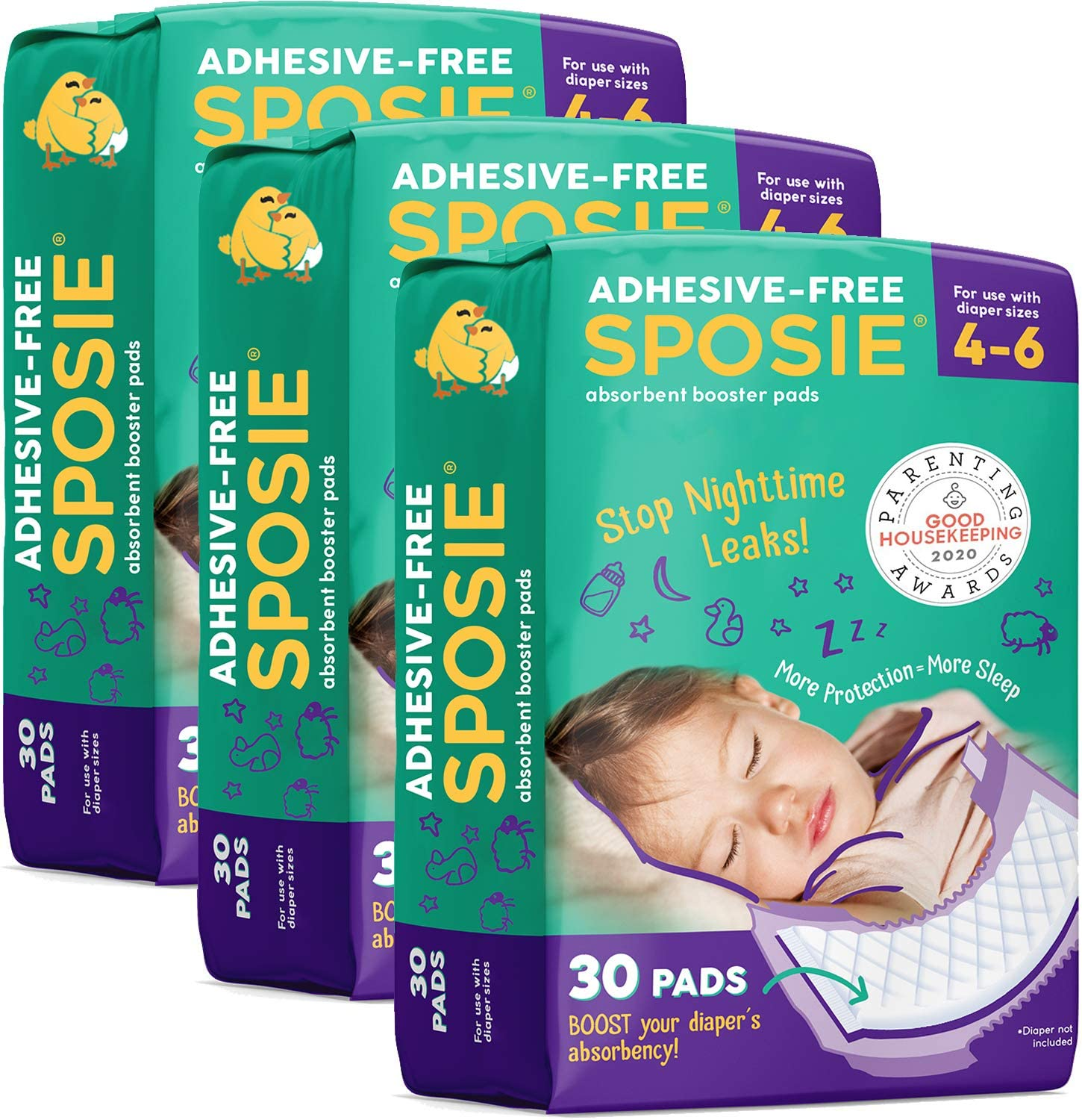 100 Count No More Leaks Healthy Spirit HSBP-100 Booster pad White Diaper Doubler Pad with Adhesive
