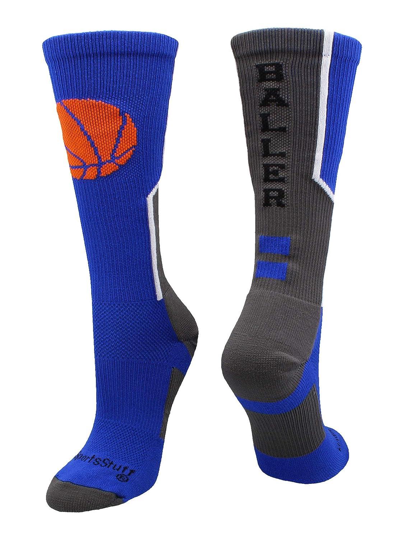 Baller Basketball Socks with Basketball Logo Crew Length