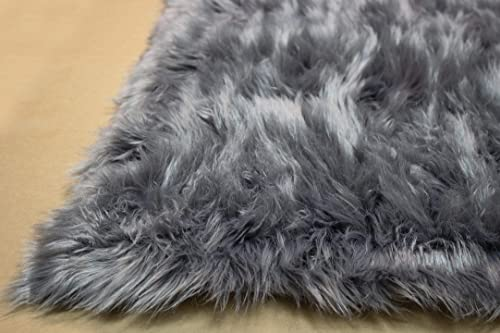 LA 6×9 Feet Faux Sheepskin Sheep Hide Modern Contemporary Gray Grey Charcoal Colors Furry Fuzzy Area Rug Carpet Rug Solid Plush Pile Soft Decorative Designer Bedroom Living Room Polyester Made