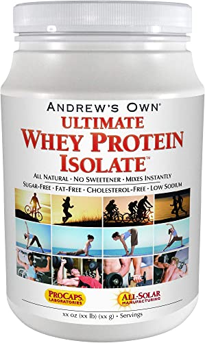 Andrew Lessman Ultimate Whey Protein Isolate 100 Servings Supports Workout Recovery Lean Muscle Non-GMO, No Added Flavors, Fat-Free, Sugar-Free, Sweetener-Free, Certified Kosher. No Additives
