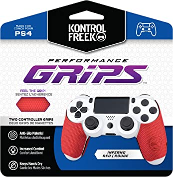 KontrolFreek Performance Grips for Playstation 4 (PS4) Controller (Inferno Red)