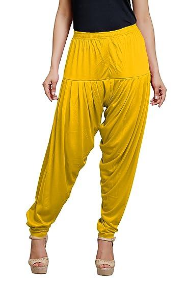 Goodtry Women's patiyala Free Size-Gold Bottom Wear at amazon