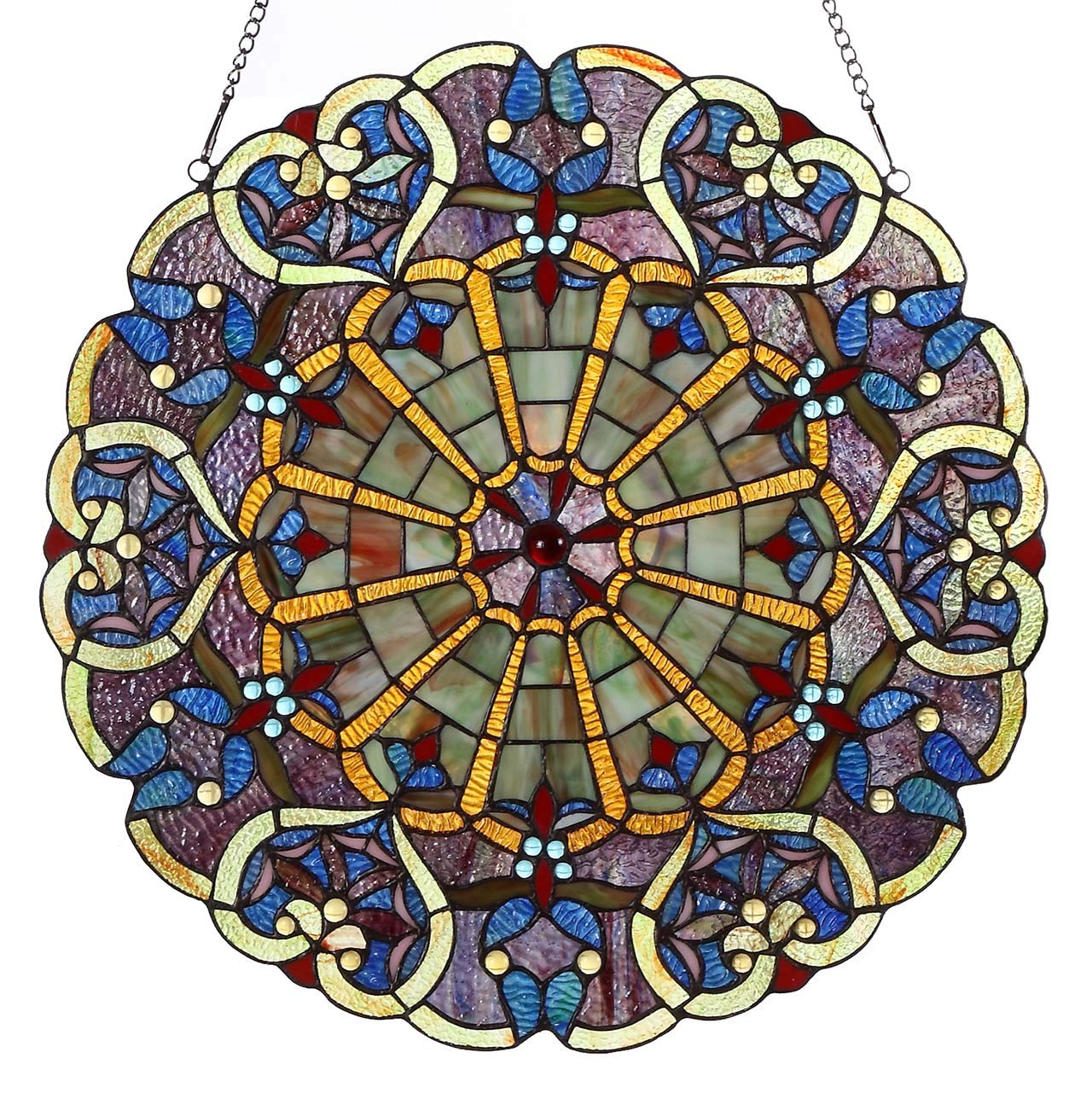 Bieye W10020 Victorian 22 inches High Webbed Heart Decorative Tiffany Style Stained Glass Window Panel with Hanging Chain by BIEYE
