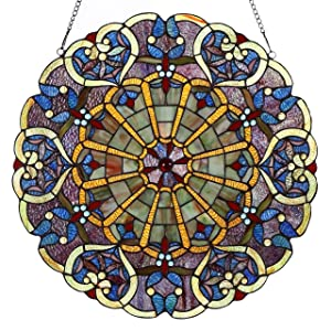 Bieye W10020 22 inches High Webbed Heart Decorative Tiffany Style Stained Glass Window Panel with Hanging Chain