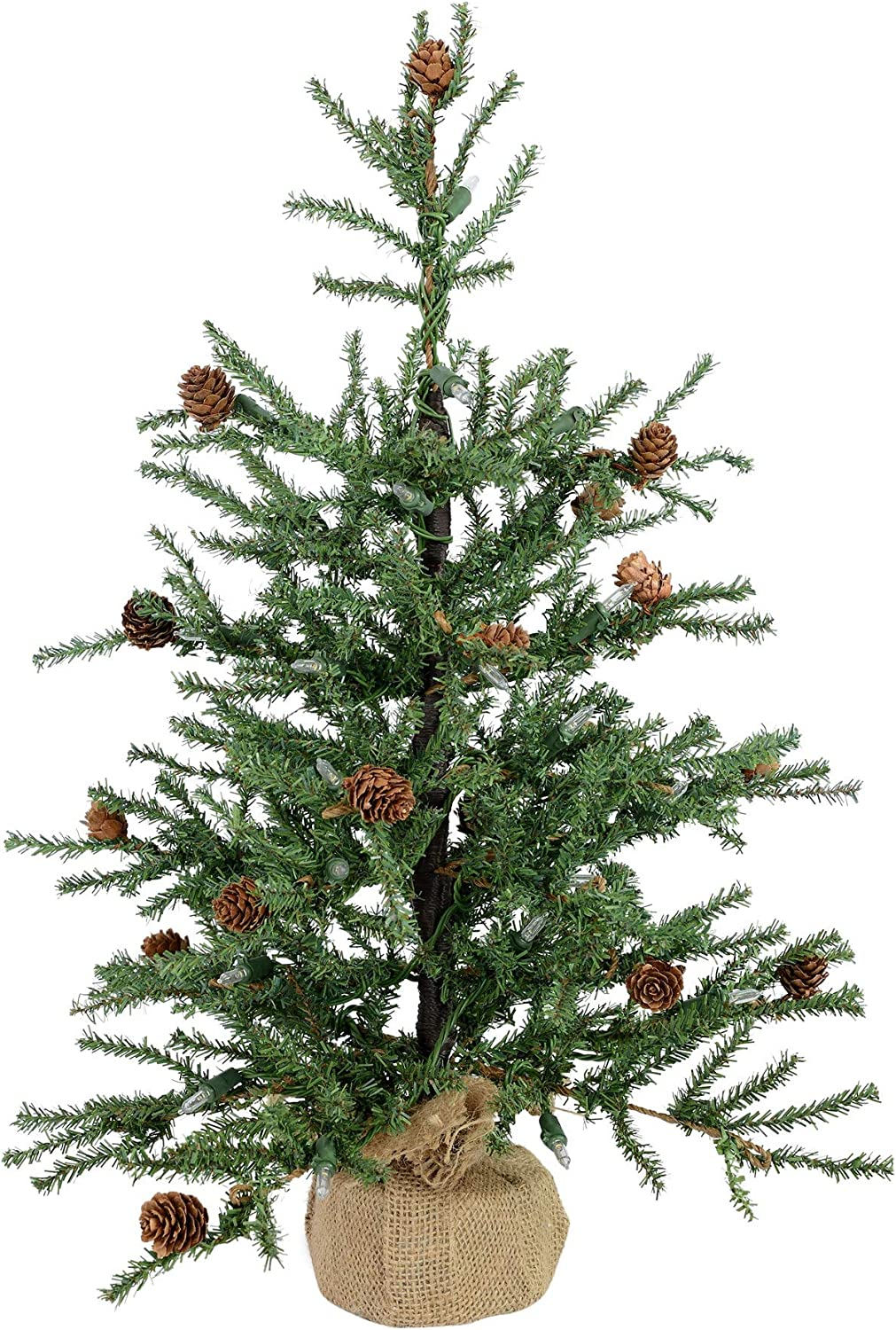 Vickerman Unlit Carmel Pine Artificial Christmas Tree Artificial Pine Cones Comes in Burlap Base, 24""