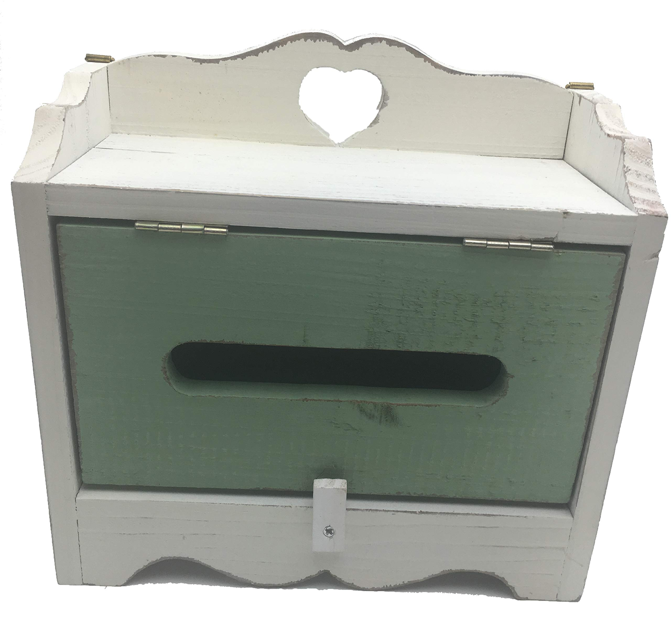 ZeeMoe [White and Green] 9.8'' Small Mount Wooden Mailbox Vintage Classic by ZeeMoe