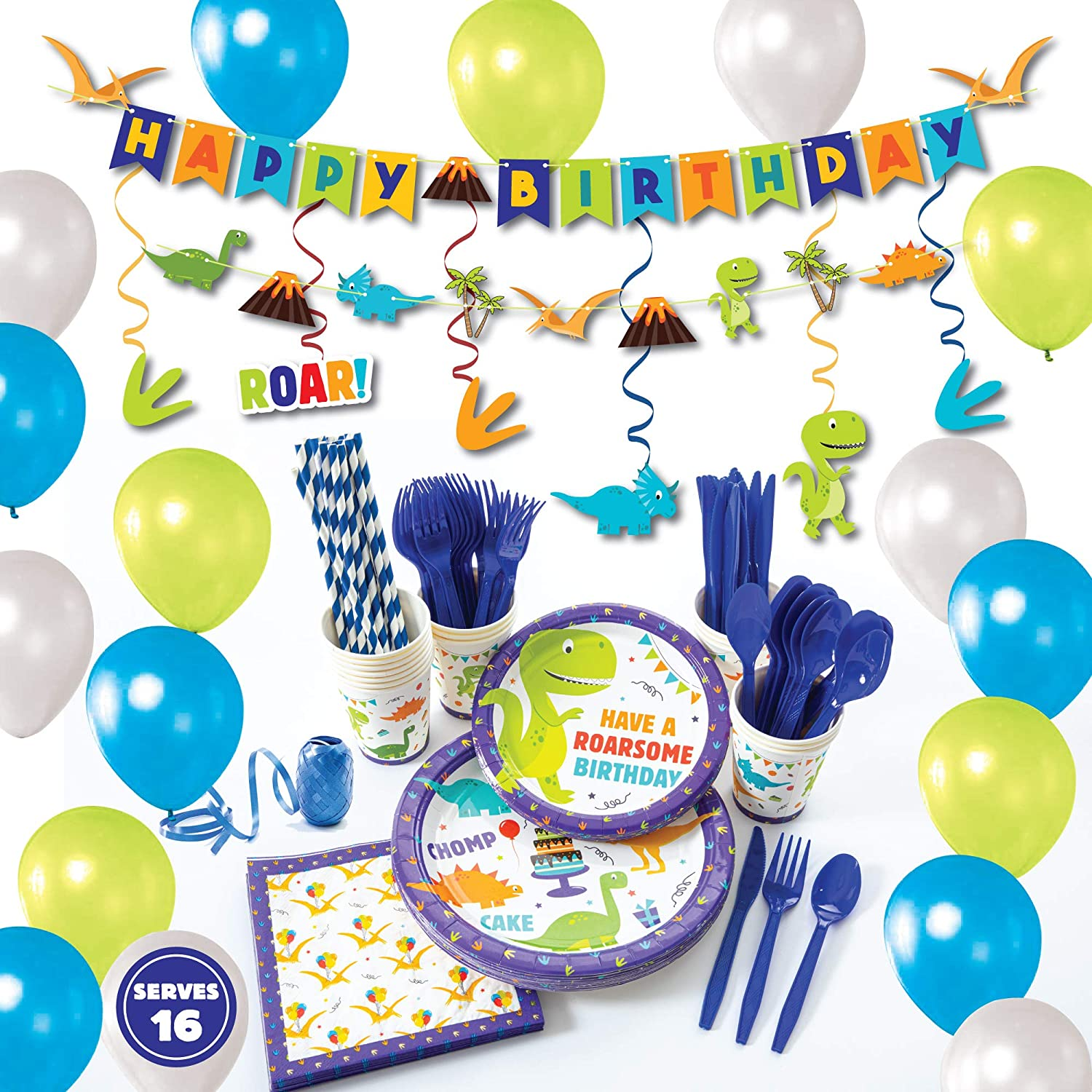 Whoobli Dinosaur Party Supplies (Serves 16), All-in-One Complete Dinosaur Birthday Party Supplies with with Birthday Plates, Utensils, Cups, Napkins and Dinosaur Party Decorations for Boys