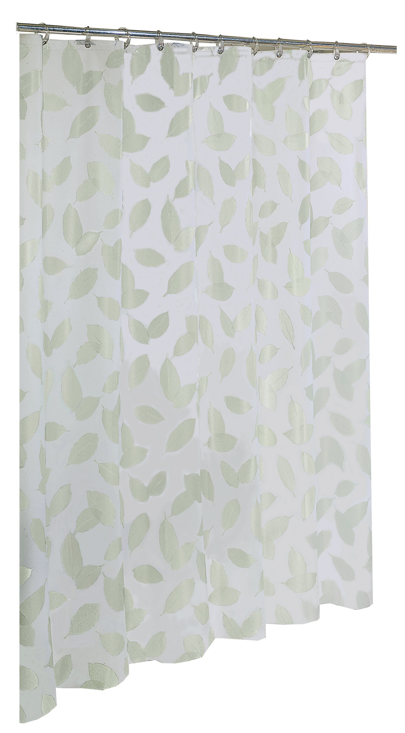 """EXCELL Home Fashions By Appointment Modern Leaf Fly PEVA Shower Curtain, PVC Free, No Chemical Odors, 100% Water-Resistant, Rust Resistant Grommets, For Master, Guest Bathroom, 70"""" x 72"""", White - PEVA SHOWER CURTAIN: Made from 100% commercial grade PEVA vinyl, the Modern Leaf Fly Shower Curtain is odorless, chlorine and PVC free for safe home use. Premium quality curtain will stay clean and fresh for long MODERN LEAF FLY SHOWER CURTAIN: EXCELL's Home Fashions Shower Curtain features a trendy, pastel leaf motif blanket all over. This beautiful and sleek curtain will perfectly fit your bathroom shower or bathtub area perfectly WATER-REPELLENT SHOWER CURTAIN: Made from 100% PEVA, this non- toxic shower curtain is water repellent. This strong and durable shower curtain will keep the water in the tub, away from the bathroom floor. No need for a separate liner - shower-curtains, bathroom-linens, bathroom - 81vCKS2JqqL -"""