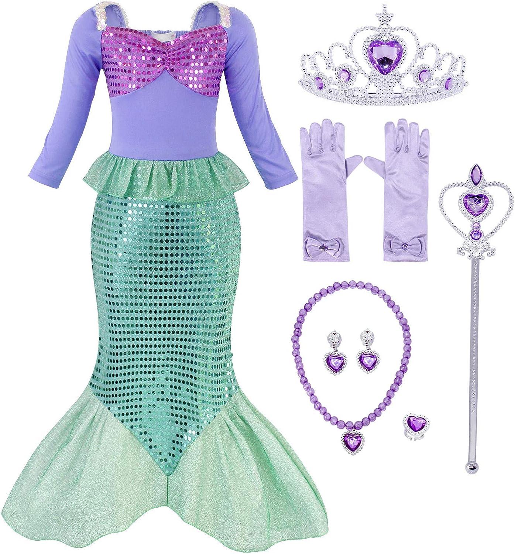 AmzBarley Il Costume della Sirenetta Ariel Vestito vestirsi Ragazza Bambina Coda di Pesce Costumi di Halloween Vestiti Compleanno Carnevale Vacanza Abiti